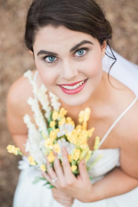 Bride looking up at camera