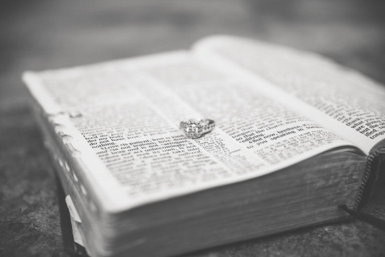 engagement ring on the Bible