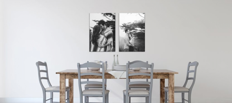 Display engagement photos at home in dining room