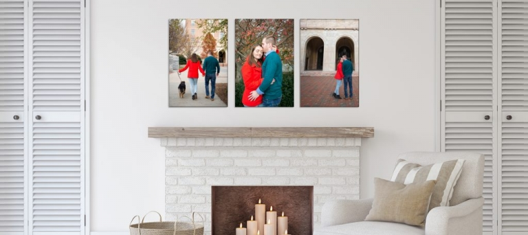Display engagement photos at home over fireplace