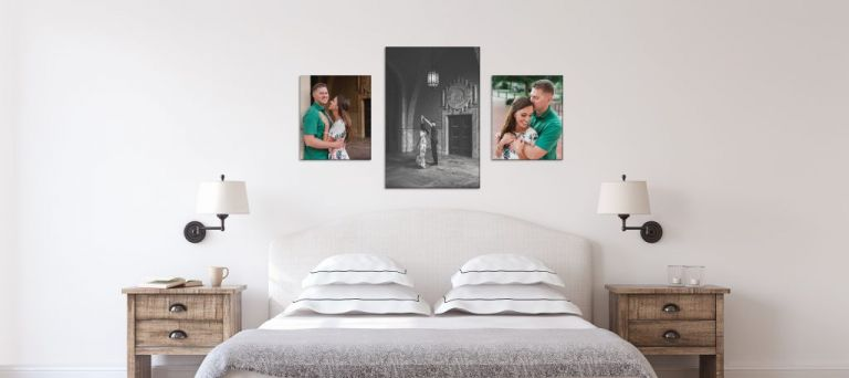 Display engagement photos at home in bedroom
